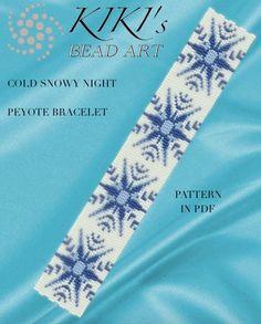 Pattern, peyote bracelet - Cold snowy night peyote bracelet pattern PDF instant download
