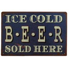 """Placa decorativa metal """"Ice Cold Beer Sold Here"""".  http://lobotomyshop.es/decoracion/152-placa-decorativa-metal-ice-cold-beer-sold-here.html"""