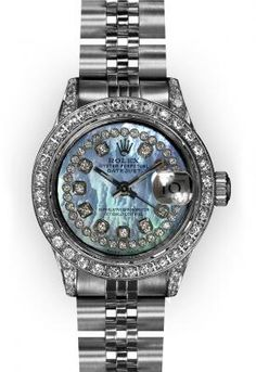 Ladies' Stainless Steel Black Mother of Pearl Diamond Lugs Rolex Datejust (660) -- An ideal watch for the woman executive.