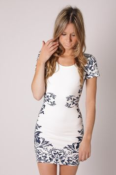 sadie tunic dress- white/navy