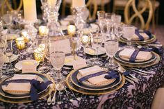 wedding reception round table pattern linen gold plates gold calligraphy on navy blue ribbon place Diy Wedding Decorations, Reception Decorations, Wedding Themes, Wedding Table, Wedding Reception, Our Wedding, Gold Color Palettes, Table Setting Inspiration, Gold Calligraphy