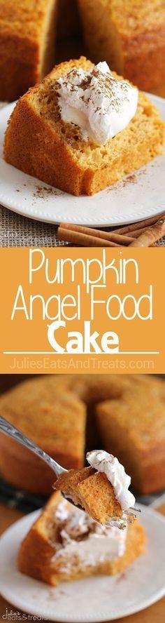 Pumpkin Angel Food Cake ~ Light, Airy Angel Food Cake with a Hint of Pumpkin! via /julieseats/