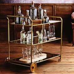 Share and get a 10% off coupon code! Art-Deco Roaring 1920s Rolling Serving and Bar Cart Design on Wheels - Brass Bar Cart