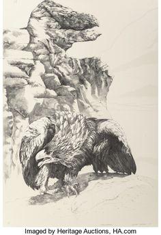 Fine Art - Work on Paper:Print, Ellen Lanyon (American, 1926-2013). Eagle Beak; Black Egret(two works), 1985. Lithograph, each. 44-1/2 x 30 inches ...(Total: 2 Items)