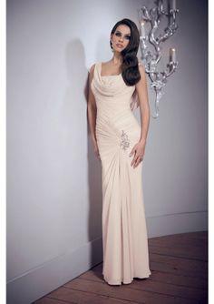 2014 Elegant Champagne Sheath Cowl Neck Floor Length Chiffon Evening Dress - by OKDress UK