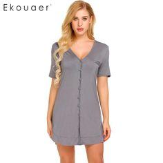 25d1c88338 Ekouaer Women Sexy Nightgown Short Sleeve Button Shirt Nightdress Sleepwear  Night Dress Female Home Clothing