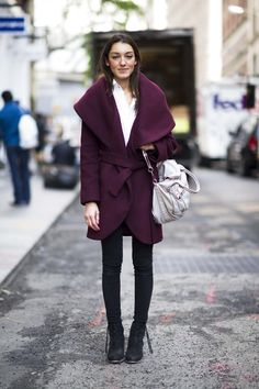 Over 160 Street Style Snaps to Kick Off Your Most Stylish Year Ever: Rich plum hues make this statement-collar coat even more dramatic, in all the right ways.  Source: Adam Katz Sinding