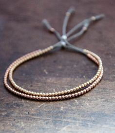Solid 14k Rose Gold Beaded Friendship by VivienFrankDesigns
