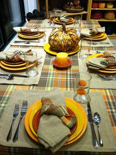 Fall table using burlap linens, colorful Fall linens, and tangerine, marigold, and paprika Fiestaware. #Fiestaware