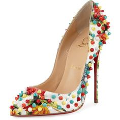 Christian Louboutin Follies Spiked #Floral 120mm Red Sole #Pump.