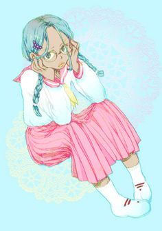 braid dark_skin glasses inazuma_eleven look_up looking_up pout school_uniform shoes socks tmhm urabe_rika