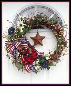 Patriotic Wreath  Americana Wreath  4th of July Wreath  by JWDecor, for sale on etsy.com