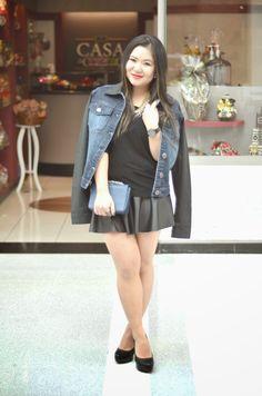 Eu Não tenho Roupa - Primeiro Blog de Moda Curitiba: OOTD* - Jaqueta Jeans com Manga de Couro