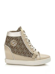 <ul><li>Wedge sneaker in cotton fabric.</li><li>Lace-up model.</li></ul><br /><br />Logo print all over.<br />Buckle on the front.<br />Fabric insole and lining. High Top Sneakers, High Heels, Winter Shoes, Elegant Dresses, Cotton Fabric, Lace Up, Wedges, Dreams, Boots