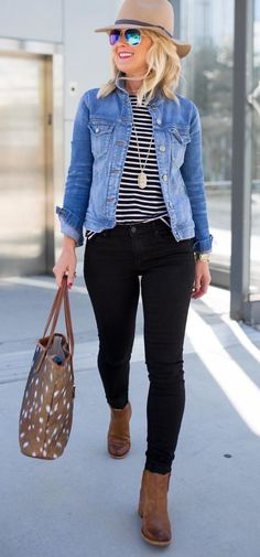 #fall #outfits women's blue denim jacket and black denim skinny jeans. Click To Shop This Look.