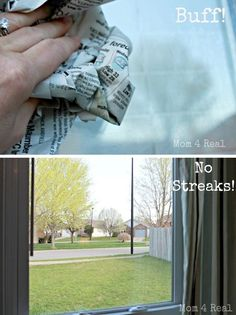 how to clean windows:equal parts of distilled white vinegar and water to a spray bottle, then add a few drops of natural dish liquid and shake well then wash with a white cloth & then dry with newspaper