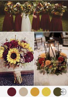 sunflower wedding Hochzeit im Savannah Ya - wedding Rose Wedding, Wedding Flowers, Dream Wedding, Wedding Stuff, Fall Wedding Colors, Wedding Color Schemes, Fall Wedding Themes, Country Wedding Colors, October Wedding Colors
