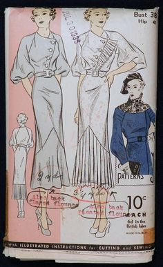 Vtg 1930s 1936 DuBarry 1459 Diagonal Pleated Frill Flounce Dress PATTERN 38 Bust