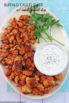 Buffalo Cauliflower with Ranch Yogurt Dip #appetizers #dinner