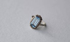 Vintage Art Deco European Blue Spinel and 835 Silver Ring Size