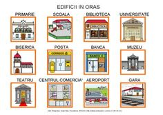 Edificii in oras by Dana Horodetchi, via Slideshare Spanish Vocabulary, Teaching Spanish, Romanian Language, Oras, Gallery Wall, Learning, Languages, Worksheets, Pep Rally