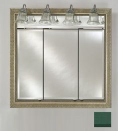 Afina Corporation TD-LT3834RCOLGN 38 in.x 34 in.Recessed Triple Door Cabinet with Traditional Lights - Colorgrain Green by Afina Corporation. $1358.00. 3/4 Perimeter bevel mirror standard.. Dimensions: 38 W x 34 H with 4 light sockets.. Rough wall opening: 34-1/2 x 31-1/4.. Finish: Colorgrain Green.. 3/8 Thick adjustable glass shelves.. Afina Signature cabinets are made of rust proof satin anodized aluminium. They have no visible hinges and feature a three mirror design. The adj...