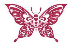 Stencil 21x29.7cm Mariposa grande con cuerpo de corazones - La ...