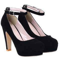 SheIn(sheinside) Black Ankle Strap High Heel Pumps