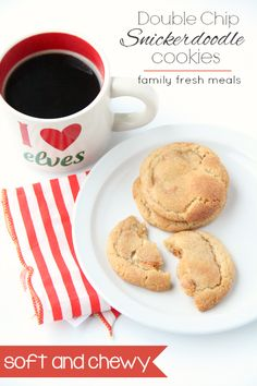 These Soft and Chewy Double Chip Snickerdoodle Cookies are THE BEST cookies. The combo of white chocolate and butterscotch in a snickerdoodle is amazing! Easy Summer Desserts, Unique Desserts, Delicious Desserts, Perfect Chocolate Chip Cookies, Family Fresh Meals, Easy Homemade Recipes, Snicker Doodle Cookies, Best Food Ever, Cookie Recipes