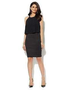 Shop Pleated Overlay Scuba Dress. Find your perfect size online at the best price at New York & Company.