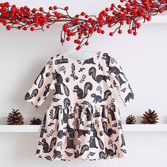 Squirrel Organic Cotton Knit Dress  Size 0-3 door RockyRacoonApparel