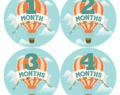 Monthly Onesie Stickers for Baby: Hot Air Balloon