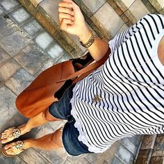 IG <click through to shop this look> Striped tee. Cut off denim jeans shorts. Casual Outfits, Summer Outfits, Summer Swag, Summer Stripes, Sandals Outfit, Weekend Style, Comfy Casual, Miller Sandal, Daily Look
