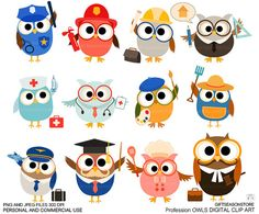 Profession owl clip art for Personal and by Giftseasonstore, $2.00                                                                                                                                                     More