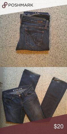 kitson denim medium wash bootcut jeans shows wear on bottom of pant leg but still