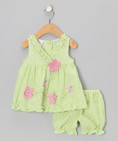 Take a look at this Green Ruffle Flower Surplice Seersucker Dress & Bloomers - Infant on zulily today!