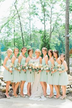 Mint bridesmaid dresses: http://www.stylemepretty.com/georgia-weddings/2014/10/13/rustic-elegant-georgia-wedding-at-indigo-falls/ | Photography: Rustic White - http://www.rusticwhite.com/