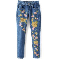 Floral Embroidered Jeans ❤ liked on Polyvore featuring jeans, denim jeans, blue jeans and blue denim jeans