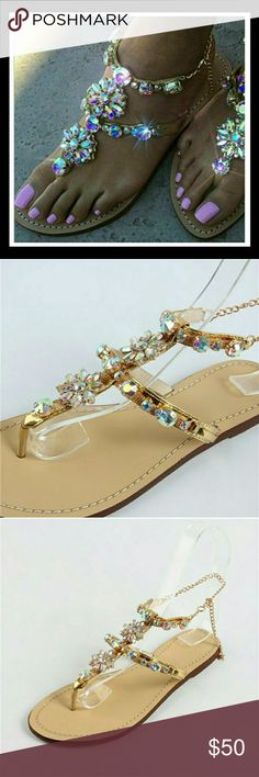 """💋Gold Jewel-encrusted Chain Link flat sandals! Absolutely to die for!  Saw these and felt like I'd die a little if they weren't immediately added to my closet and available to my clients!  Had to """"cop"""" a my own pair though... as they truly were the perfect choice for an early evening Bahama beach wedding... when the attire called for """"glam"""" and the heels were just not functional for the sand. 😉😯😄 You can dig it.  Try these as your go-to and just sparkle and shine! 📌EU 41, but fits like…"""