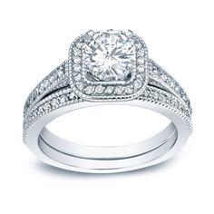 Auriya Platinum 1ct TDW Round Diamond Bridal Ring Set (H-I, SI1-SI2) (Platinum - Size 7.5), Women's, White
