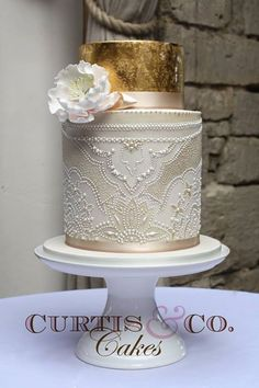 Beautiful Cake Pictures: Hand Piped Edible Pearls Patterned Wedding Cake - Cakes with Pearls, Elegant Cakes, Wedding Cakes, White Cakes -