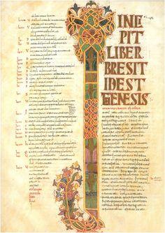 Leon Bible of 960 - letra capital de inicio del génesis.Lettrine de l'incipit de la Génèse. Bible de Leon de 960.circa 960.illumination on parchment.48 × 34 cm.Real Basílica Colegiata of San Isidoro, León.