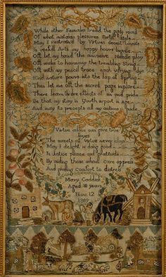 1809 Needlework Sampler by Mary Caddick, Probably English  I absolutely love old samplers!