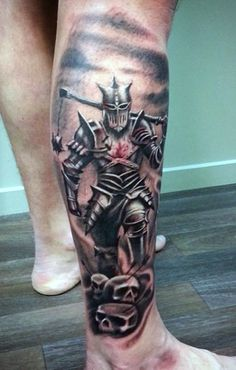 Top 80 best knight tattoo designs for men ink tattoo designs Warrior Tattoos, Badass Tattoos, Leg Tattoos, Body Art Tattoos, Calf Tattoo Men, Leg Sleeve Tattoo, Cool Back Tattoos, Cool Tattoos For Guys, Medieval Tattoo