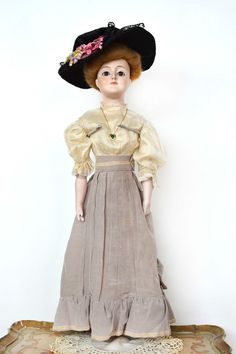 Incredible Antique Kestner Gibson Girl Lady Doll in Stunning Fashion Outfit   eBay