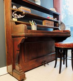Repurposed Upright Piano Desk - Great Idea I want to try some day