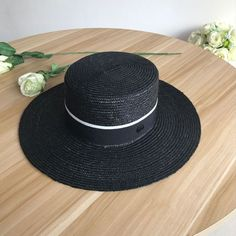 7bc568d1 Hat Boater Wide-Brim Casual Elegant Women-Men Straw Summer Fashion Run  Black Cap