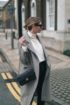 Emma Hill wearing Chanel vintage timeless bag, Celine Baby Audrey Sunglasses, Check coat, cream cashmere sweater, gold necklaces, black jeans, chic classic outfit