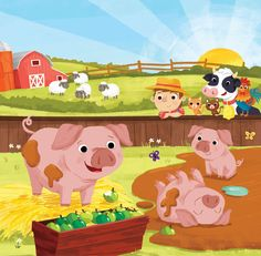 Leading Illustration & Publishing Agency based in London, New York & Marbella. Hog Farm, Farm Yard, Cartoon Pics, Cartoon Picture, Children's Picture Books, Cute Illustration, Nursery Rhymes, Childrens Books, Art For Kids
