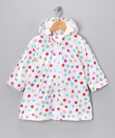 Another great find on #zulily! White Polka Dot Fleece-Lined Raincoat - Infant, Toddler & Girls #zulilyfinds